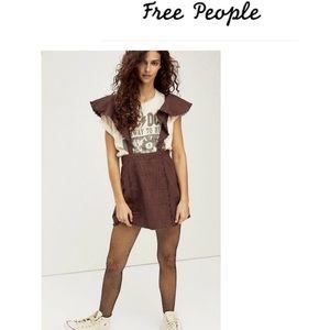 NWT Free People size 6 Rowan plaid pinafore skirt